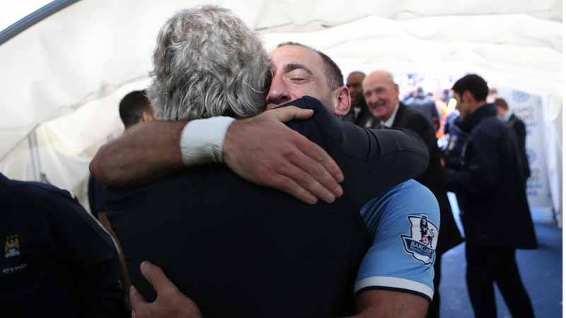 Together - This is how it feels to be City, so the hell with UEFA. MP & Zaba celebrate the title win. Courtesy @MCFC