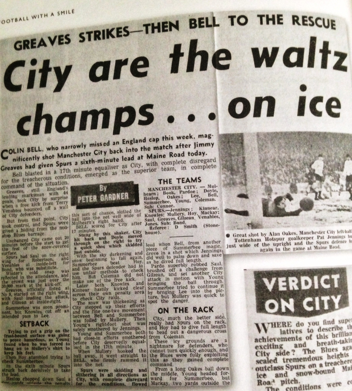 Match Report - City's famous victory over Spurs is reported by the Manchester Evening News' excellent City reporter, Peter Gardner.