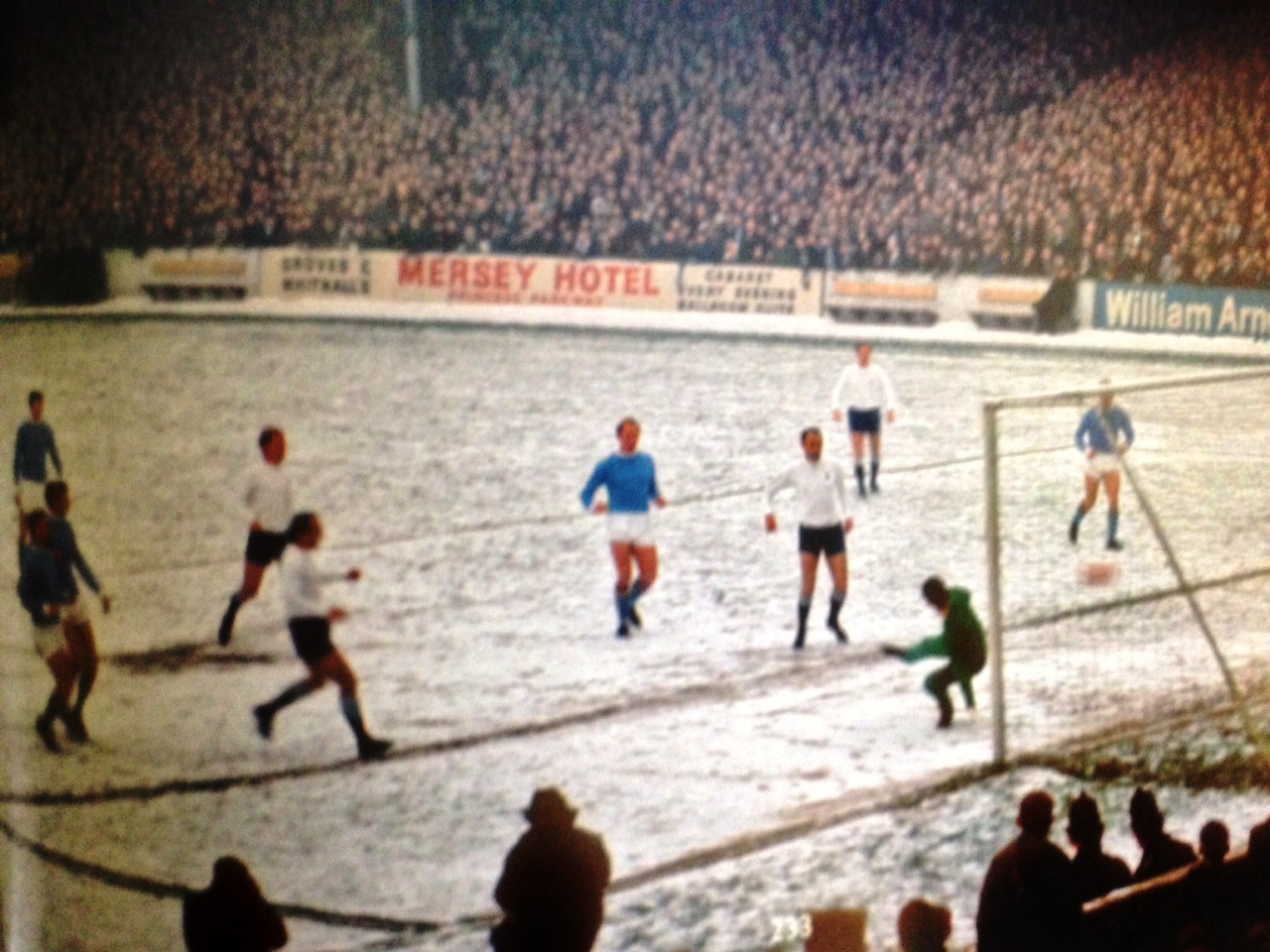 Ballet On Ice - A rare colour image from City's memorable 4-1 win over Spurs at Maine Road in the 1967-68 Championship winning season.