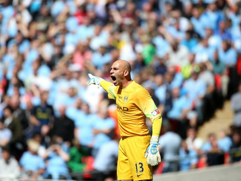 Shot down - Caballero was caught out by Giroud's 25-yard dipping strike. Courtesy @MCFC