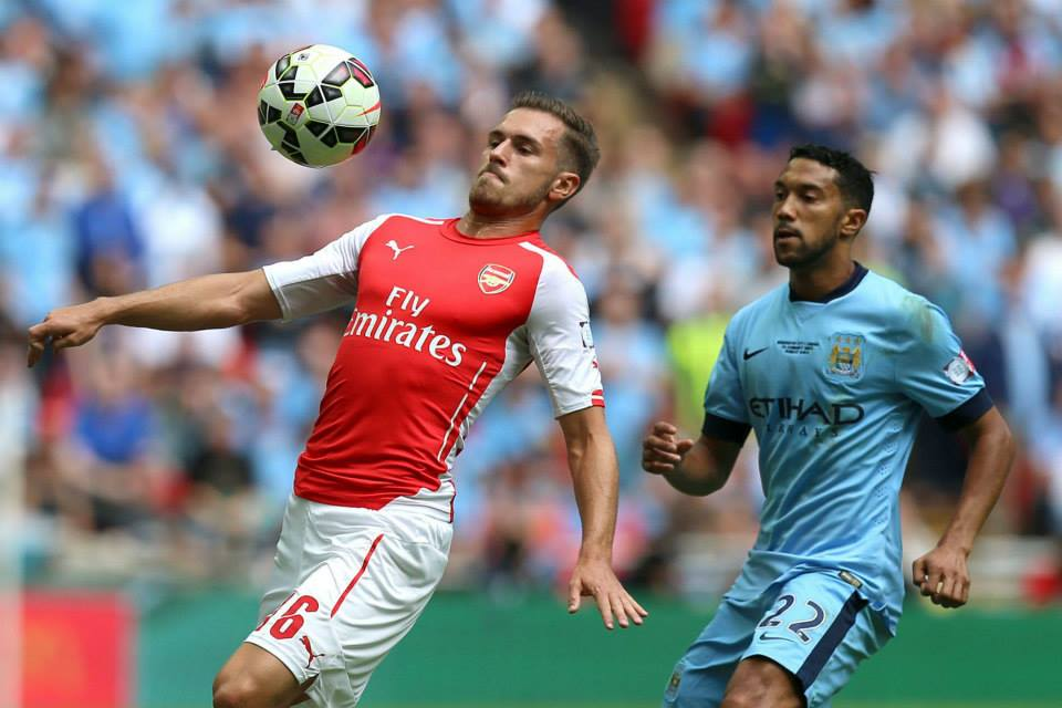 Torrid time - Gael Clichy and his team mates had a tough afternoon against a rampant Ramsey and the Gunners. Courtesy @MCFC