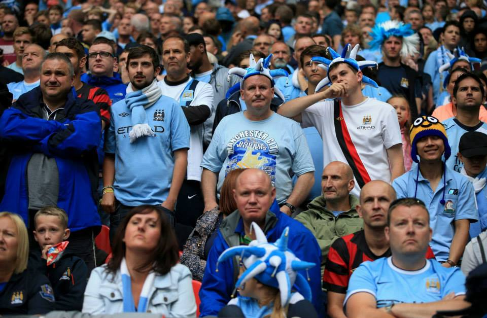 Bring me sunshine - it never arrived for City's subdued fans at the Community Shield. Courtesy @MCFC
