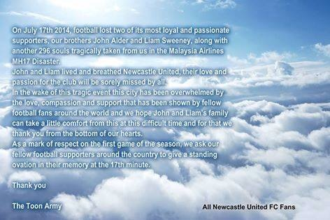 In memory - City & Toon fans can unite in paying their respects to tragic Newcastle supporters John Alder & Liam Sweeney.