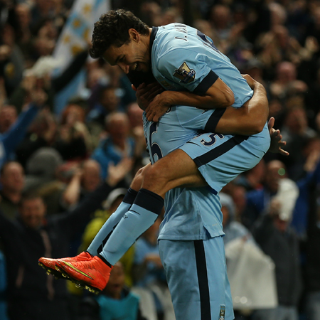 Celebration - Jesus Navas was goal provider for goal machine Aguero. Courtesy@MCFC