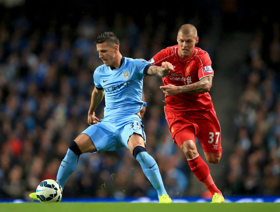 Match winner - Jovetic and City gave the hated Skrtel a torrid time. Courtesy@MCFC