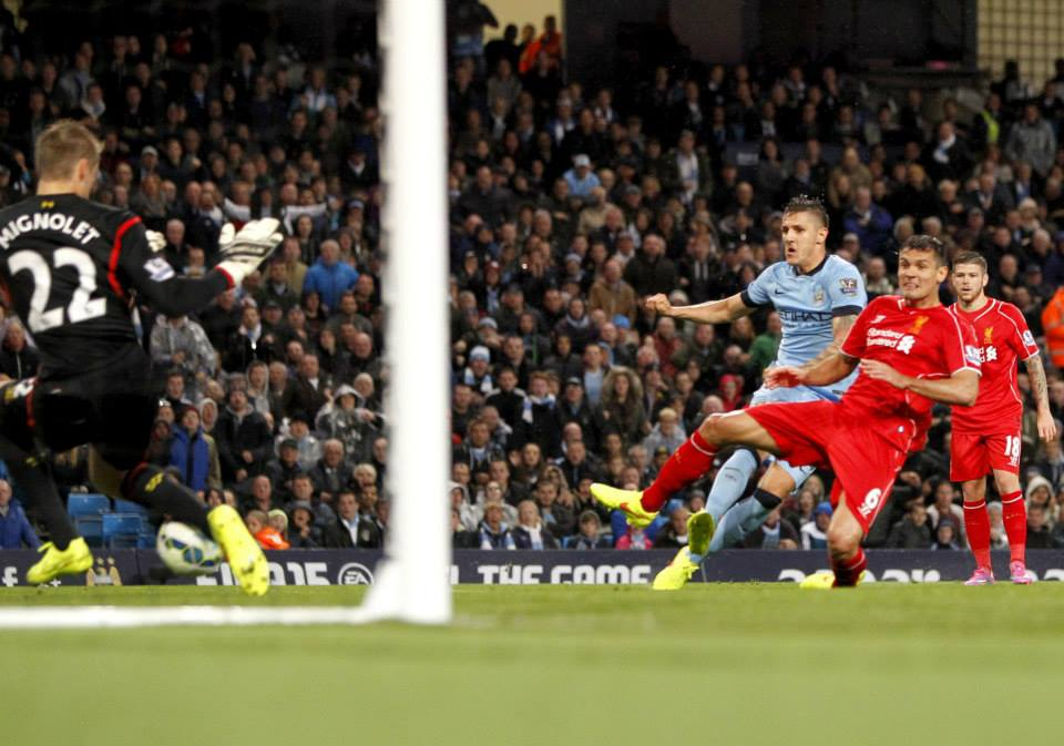 Montenegrin magic - Jovetic slams home City's first goal. Courtesy@MCFC