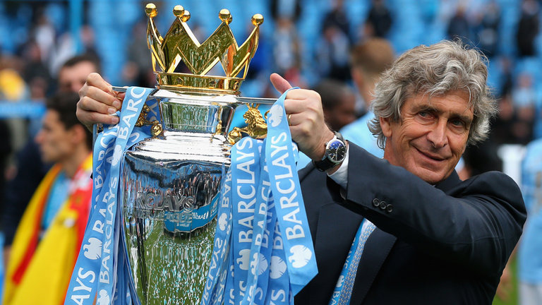 Remember this? Just 10 Premier League games ago MP was holding the trophy aloft. Don't panic Mr Mainwaring!