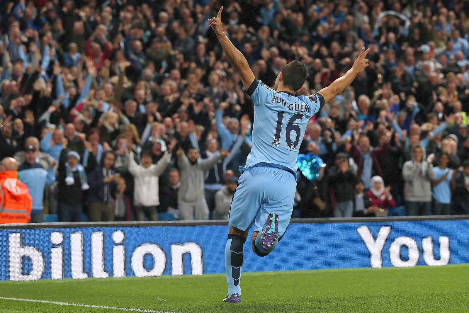 Same again Sergio - Aguero celebrates scoring City's 3rd goal in the 3-1 win over Liverpool in August. Courtesy@MCFC