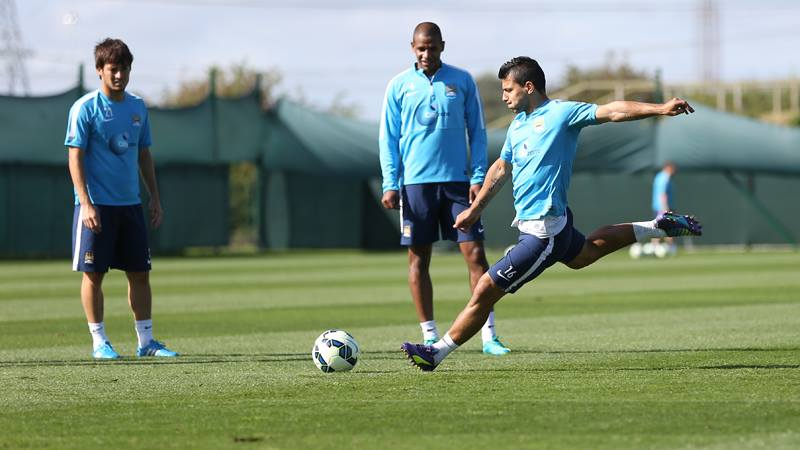 Hit it! - Sergio has his best shooting boots on this season.Courtesy@MCFC