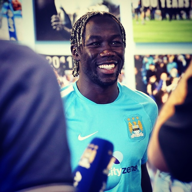 New boy on the block - Bacary Sagna is the latest ex-Gunner to roll into Manchester City. Courtesy @MCFC