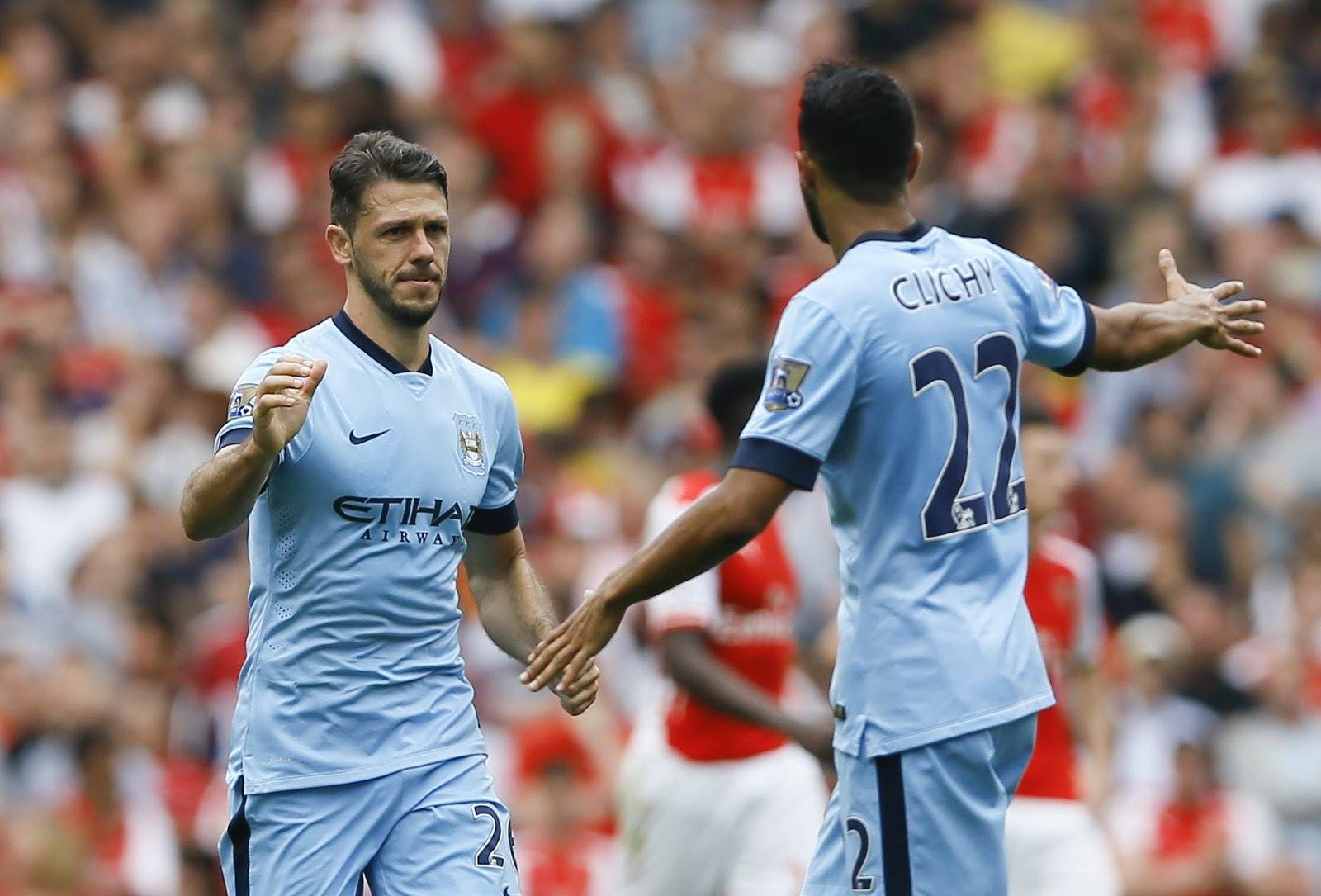 Well done - City scorer Demichelis and the excellent Clichy helped the Sky Blues to a deserved draw. Courtesy@MCFC