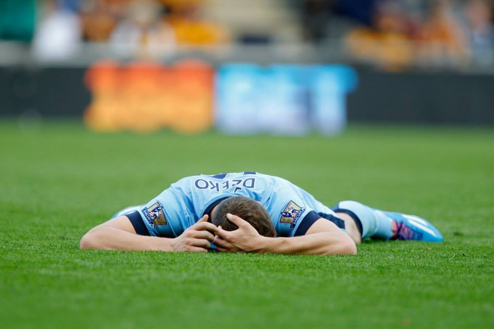 Grounded but soon flying high - Dzeko was deadly with two superbly taken goals - Courtesy@MCFC