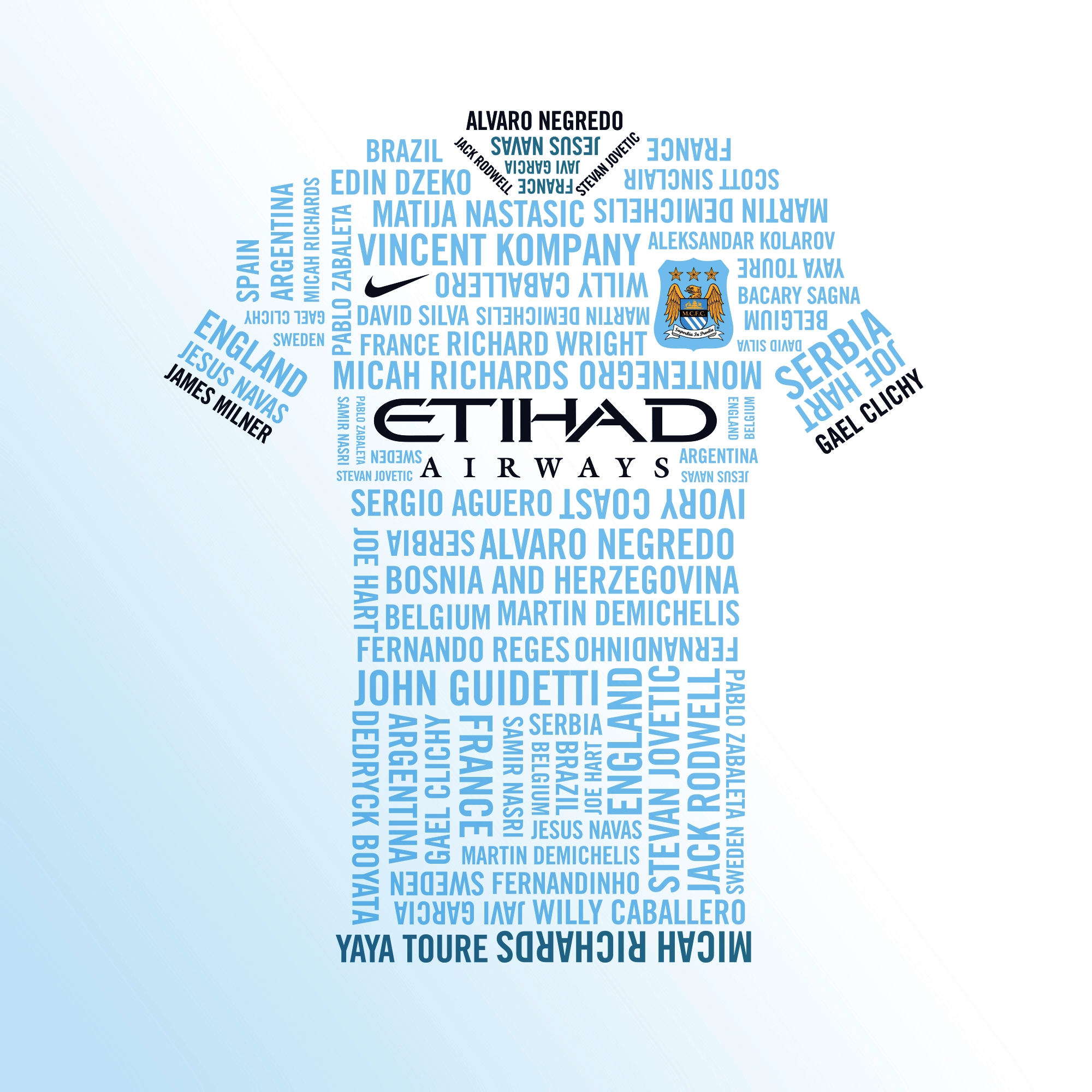 Number's game - count how many INDIVIDUAL names and countries appear on the special Eitihad Airways commissioned T-shirt and you could win a Man City boxed home shirt with Read But Never Red.