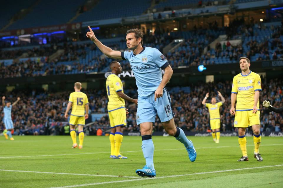 Goal Celebration - Frank declined to get too excited after scoring against Chelsea - it was different against Wednesday. Courtesy@MCFC