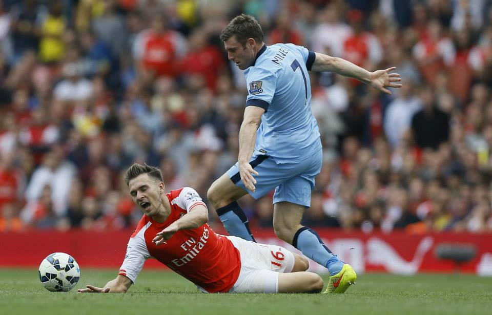 Battling - Milner operated to great effect against the likes of Ramsey in the middle of the park. Courtesy@MCFC