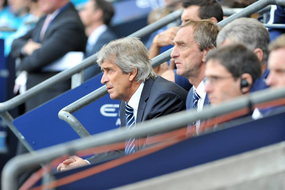 Back on the bench - Manuel was able to 'hug' the touchline after his midweek Euro ban. Courtesy@MCFC