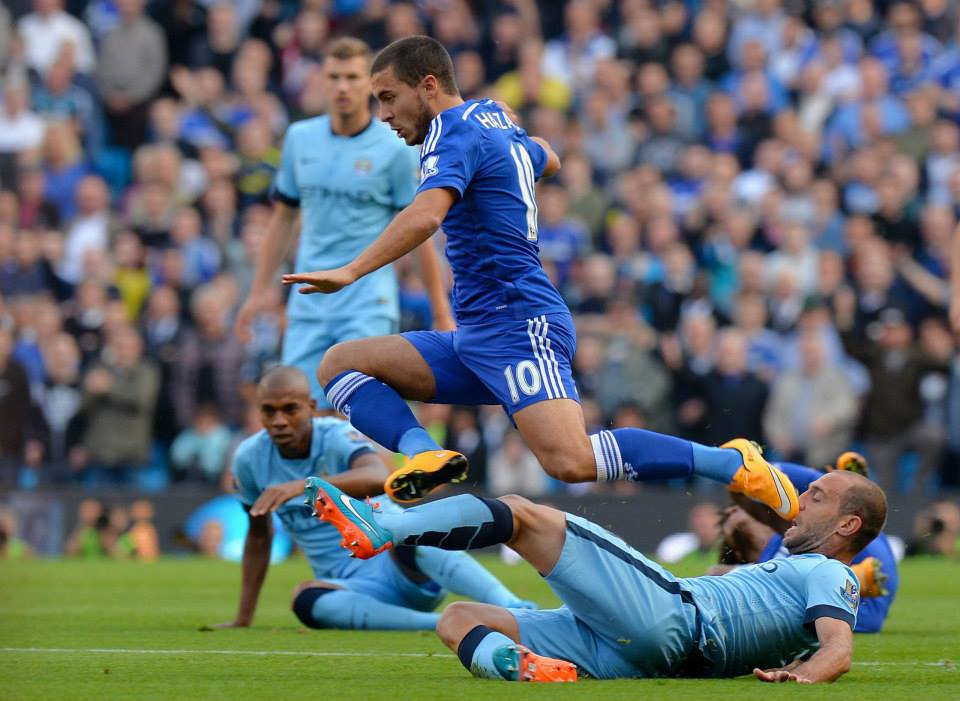 Yellow peril - Zaba's first booking was unduly harsh in a clash with Hazard. Courtesy@MCFC