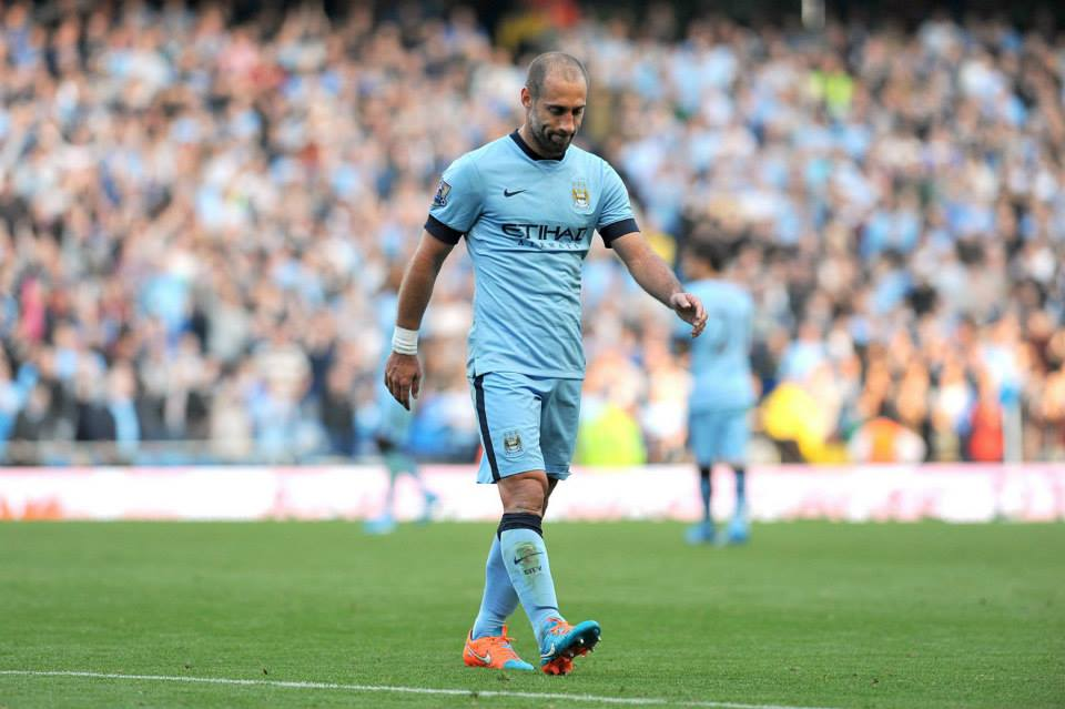 Lonely trek - Zaba was given a standing ovation despite being sent off. Courtesy@MCFC