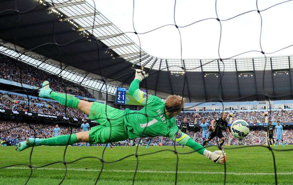 No-go - Joe saves Soldado's penalty to preserve City's lead. Courtesy@MCFC