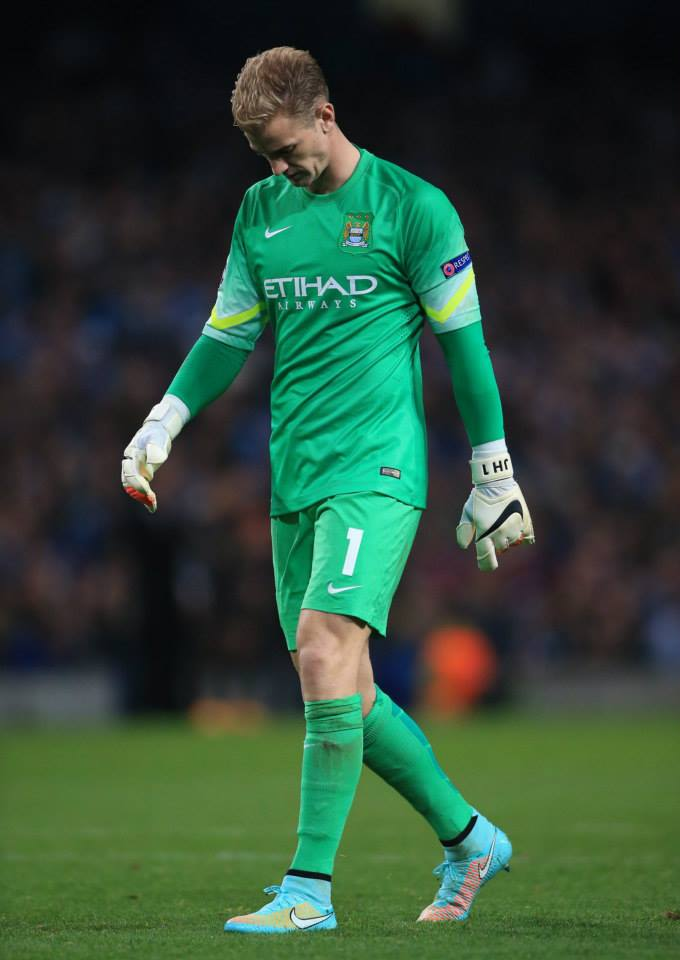 Dejected - Joe suffered Champions League disappointment for the second time in two games but was blameless for Roma's goal. Courtesy@MCFC