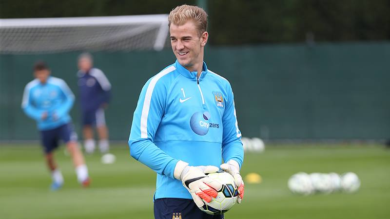 Jolly Joe - City's No 1 keeper in humorous mood at MCFC training. Courtesy@MCFC