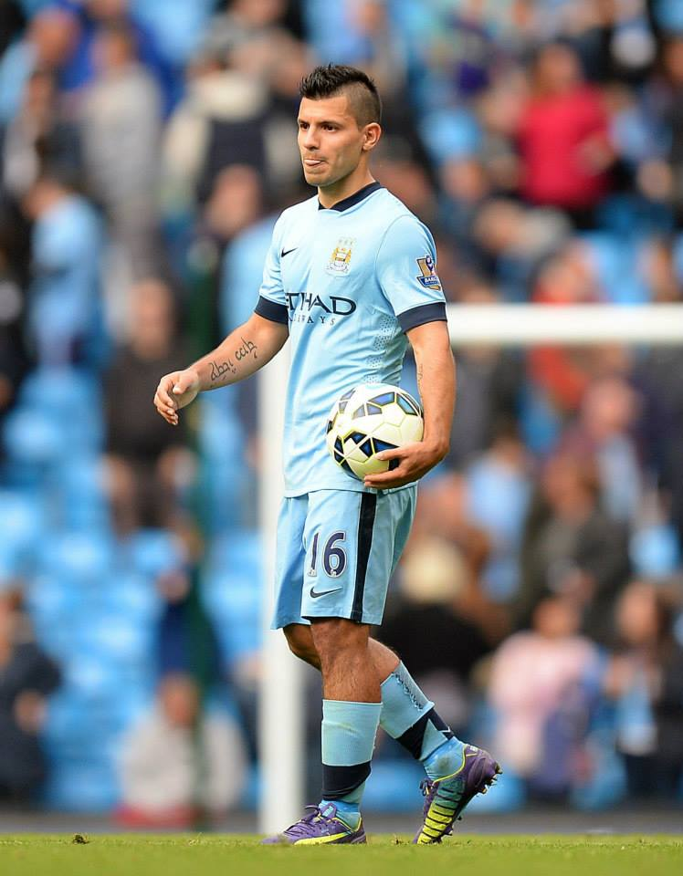 Ball boy - Sergio made sure he had the match ball after his four goals against Spurs. Courtesy@MCFC