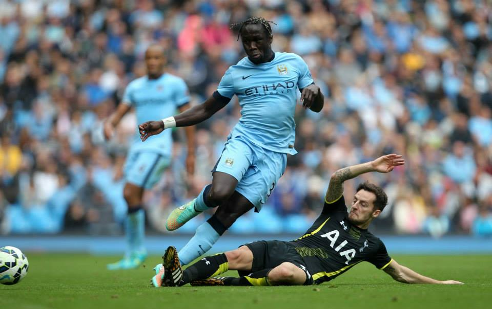 On the slide - Bacary Sagna and his team mates need to stop conceding goals if they are to progress in the Premier League and Champions League. Courtesy@MCFC