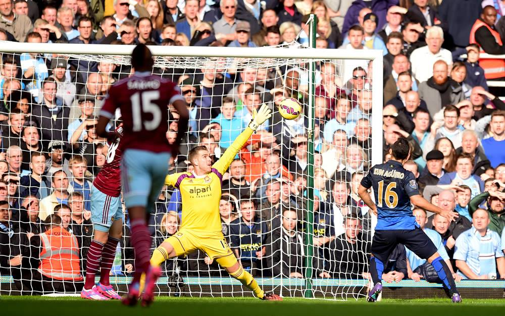 Bar Humbug - Sergio's strike hits the West Ham woodwork. Courtesy@MCFC