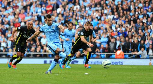 Paying the penalty - Sergio helped undo those Hot-spurs with two out of three spot kicks successful. Courtesy@MCFC