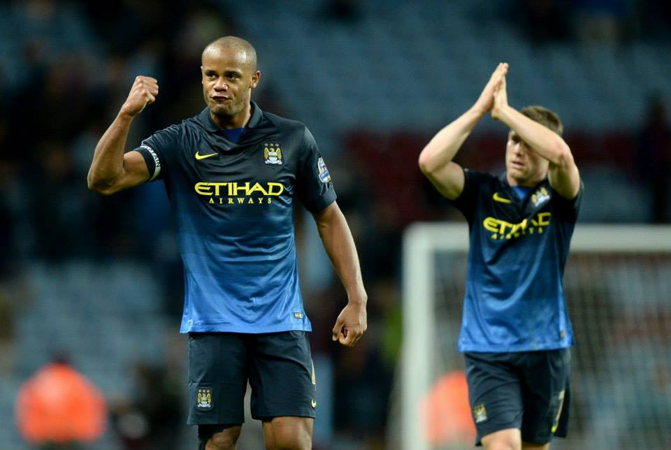 Job done - Vinny and Jimmy salute the fans as City won their 3rd away game of the season at Aston Villa. Courtesy@MCFC