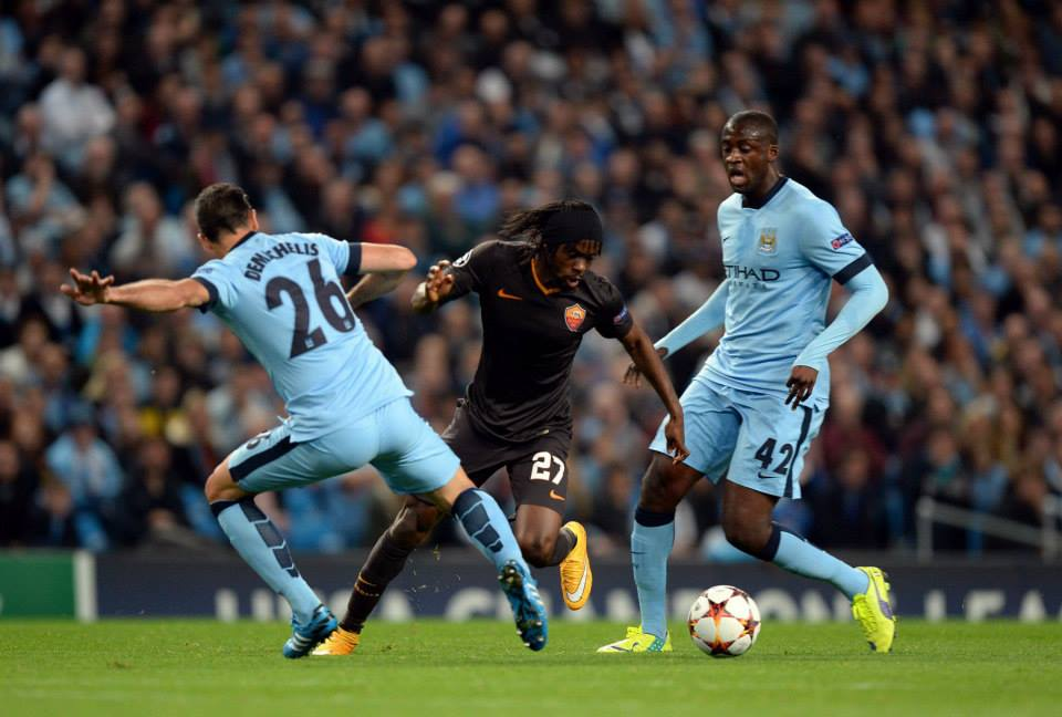 Ivorian brothers - Yaya and Gervinho in action at The Etihad. Courtesy@MCFC