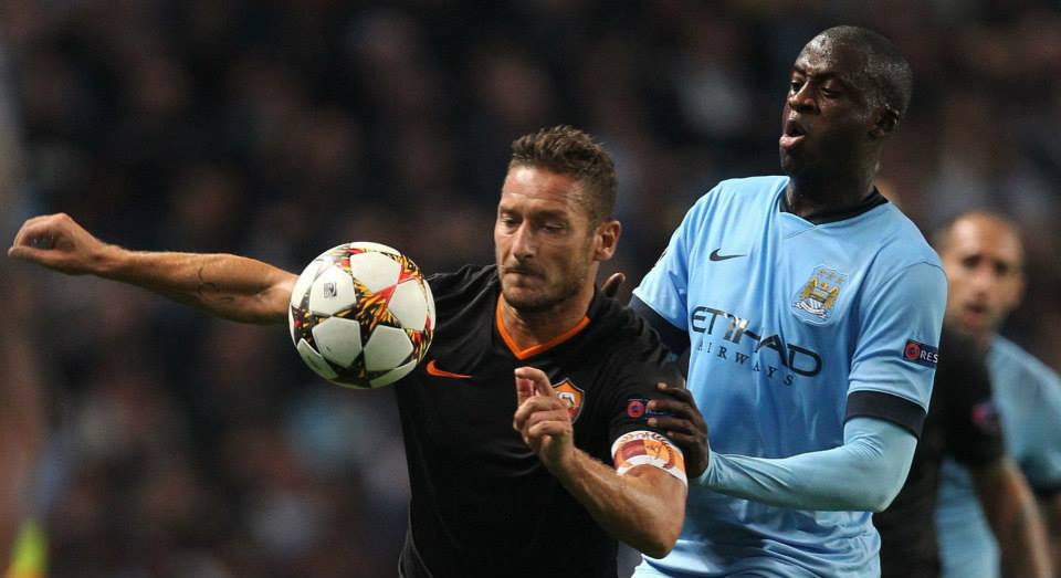 Top Totti - the Italian veteran made his mark on the match...Yaya didn't. Courtesy@MCFC