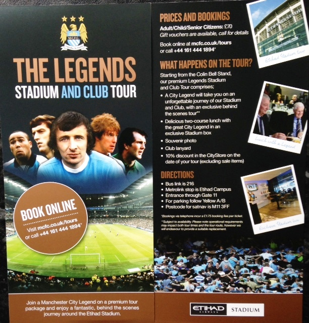 Legends Tour - a great new customer experience now available from Manchester City.