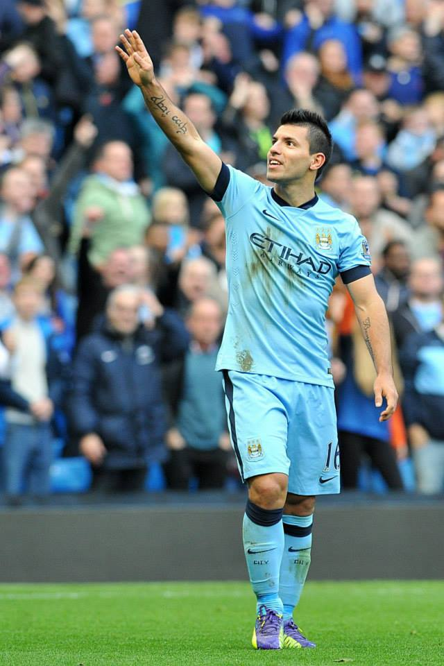Etihad salute - Aguero acknowledges the crowd as he scores the winning goal in the last Manchester derby. Courtesy@MCFC