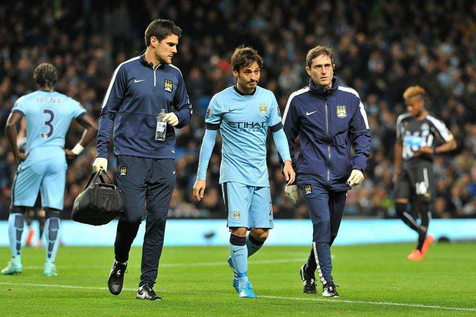 Sad sight - David Silva limps out of first team contention for at least three weeks. Courtesy@MCFC