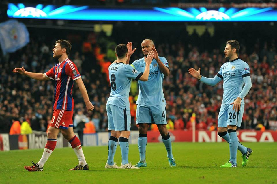 Team spirit - Nasri, Kompany and Demichelis savour the moment...Bayern beaten for a 3rd time in 6 games with City. Courtesy@MCFC