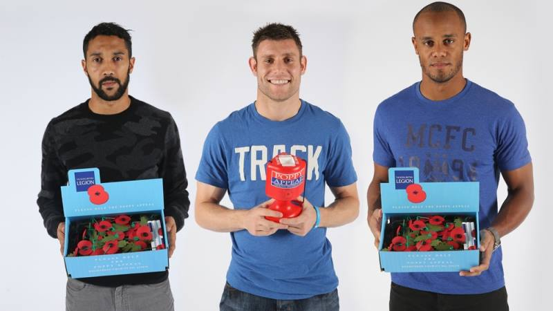 Remembering the fallen - Gael Clichy, James Milner and Vincent Kompany show their support for the Royal British Legion. Courtesy@MCFC