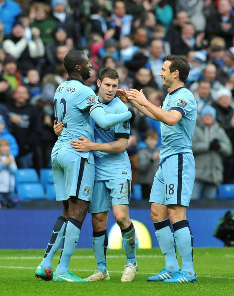 Job done - Yaya, Milly & Lamps know the three points are going City's way. Courtesy@MCFC