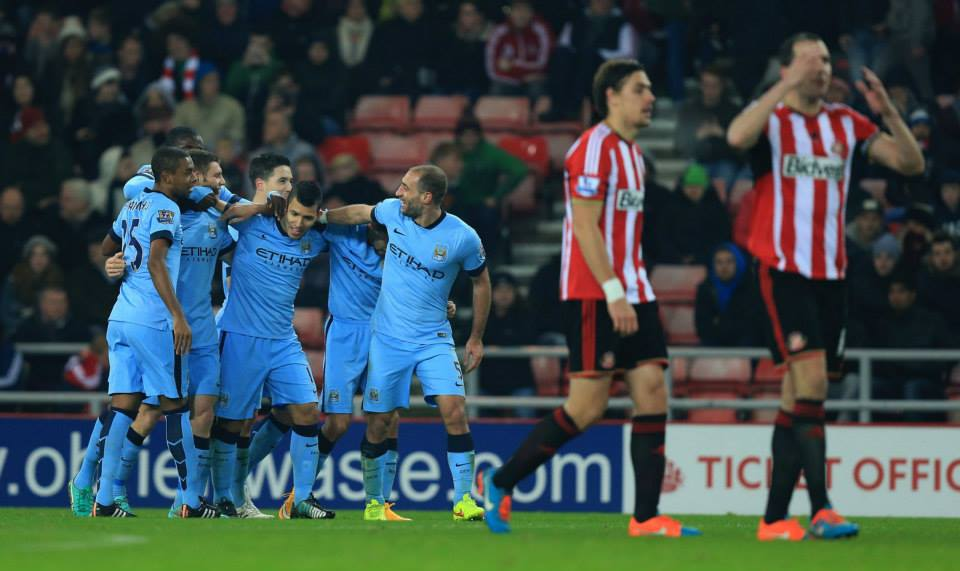 Lights out - Sergio snuffs out Sunderland with the fourth goal. Courtesy@MCFC