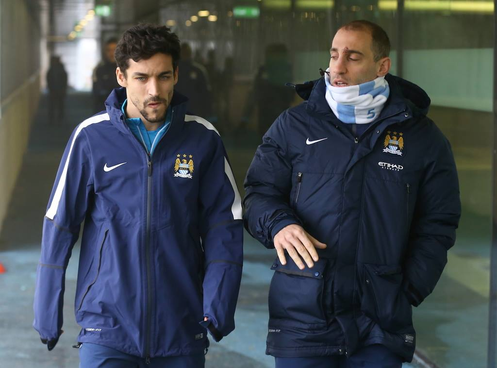 Battered but not beaten - Zaba shows the scars of his unfortunate collision with team mate Mangala. Jesus listens! Courtesy@MCFC