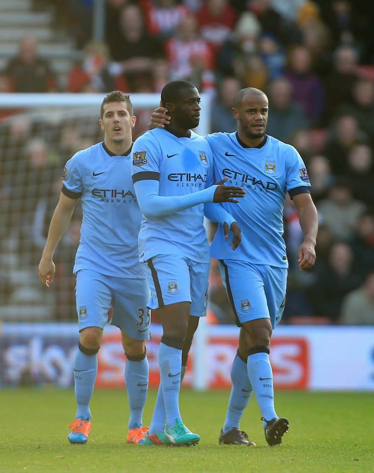 City threesome - 3-0 away to Southampton meant a Super Sunday for Stevan, Yaya and Vinny. Courtesy@MCFC