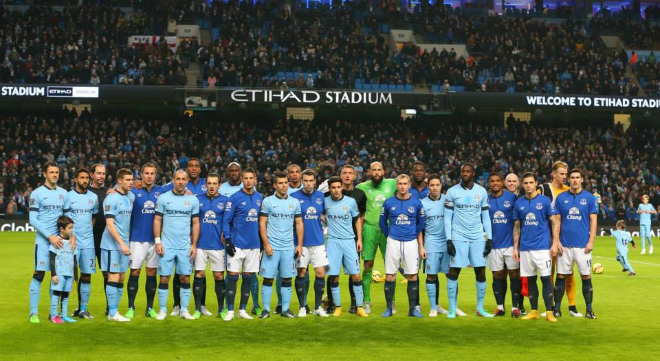 Calm before the storm - Sergio lines up with colleagues and opponents before kick-off against Everton. Courtesy@MCFC