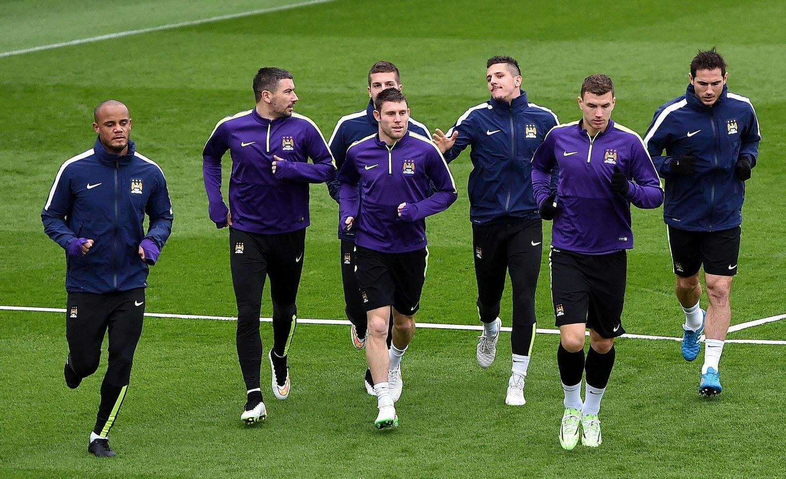 Fit for purpose - City's squad - minus Sergio and Yaya - prepare for Rome. Courtesy@MCFC