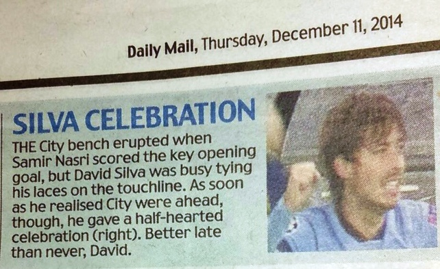 Daily Fail - Maggot Andrew Magee described David Silva's celebration as 'half-hearted'. What a knob!