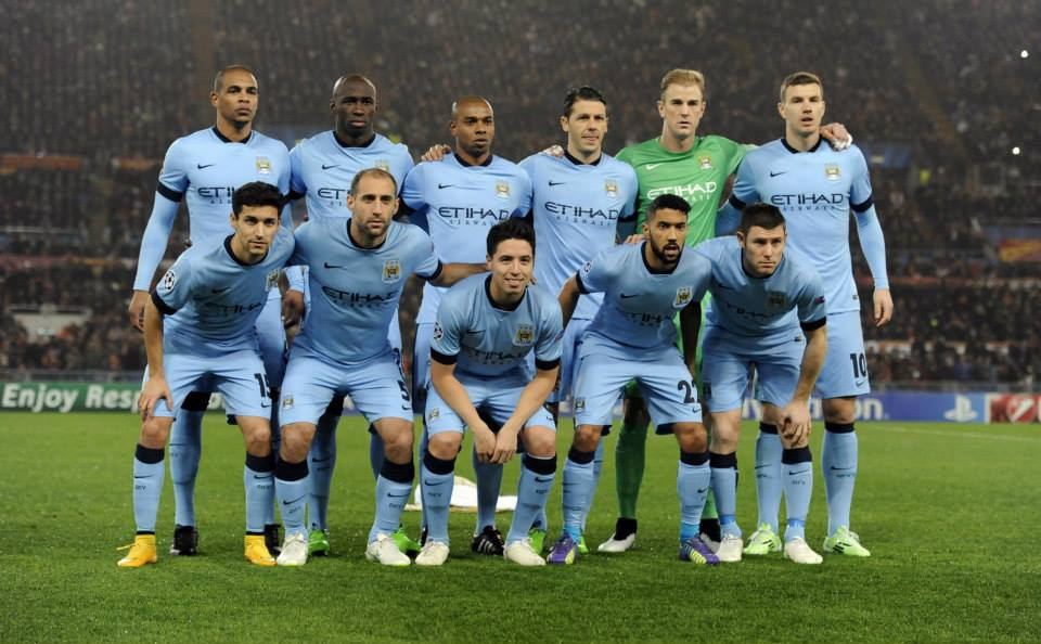 Gladiators one & all - City line-up as the 'Invisible Men' in Rome. Courtesy@MCFC