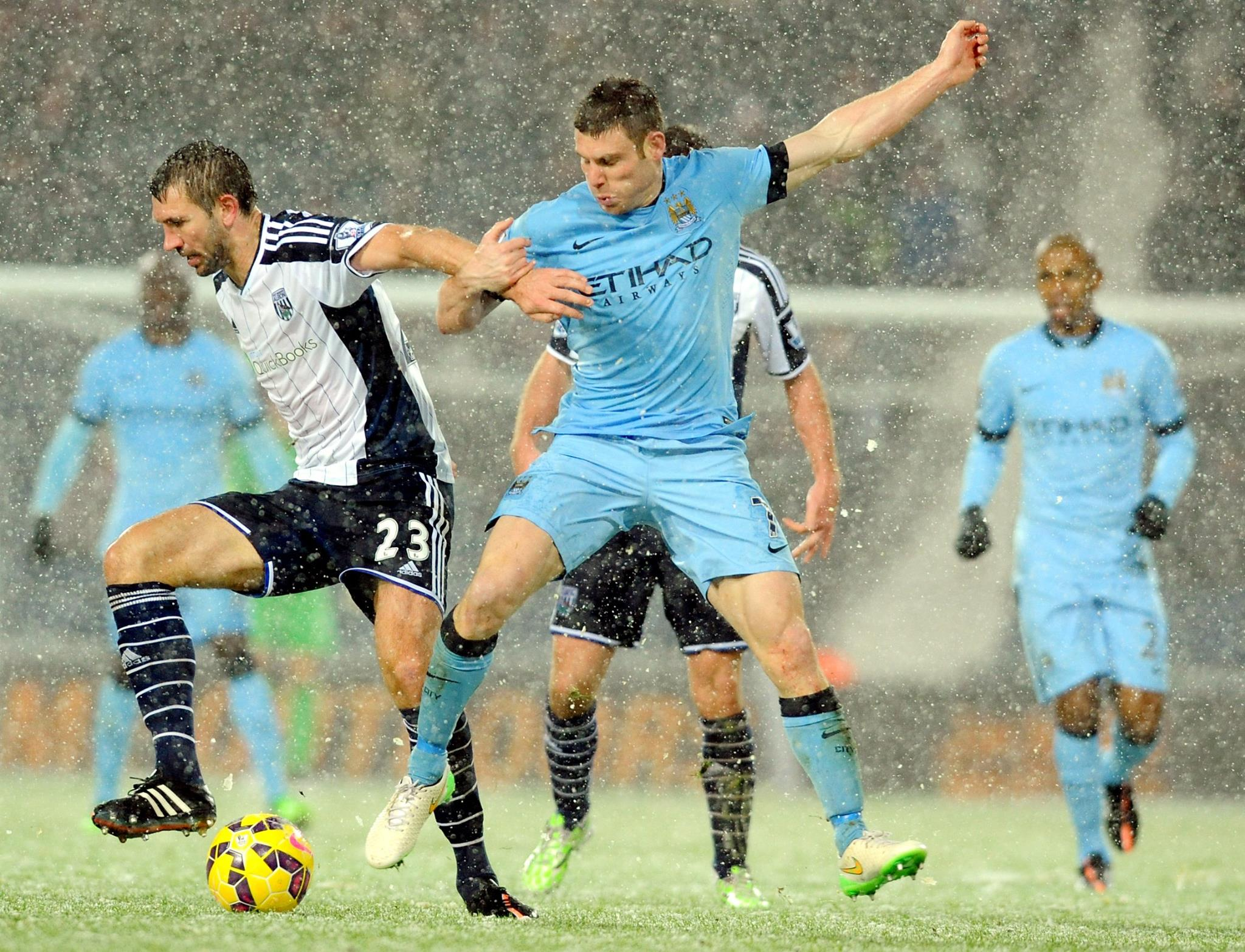Showtime in the snow - City brought festive joy at WBA. Courtesy@MCFC