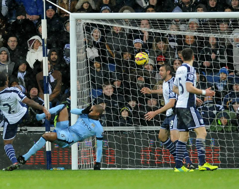 Festive Fernando - City's defensive midfielder opened the scoring at WBA. Courtesy@MCFC