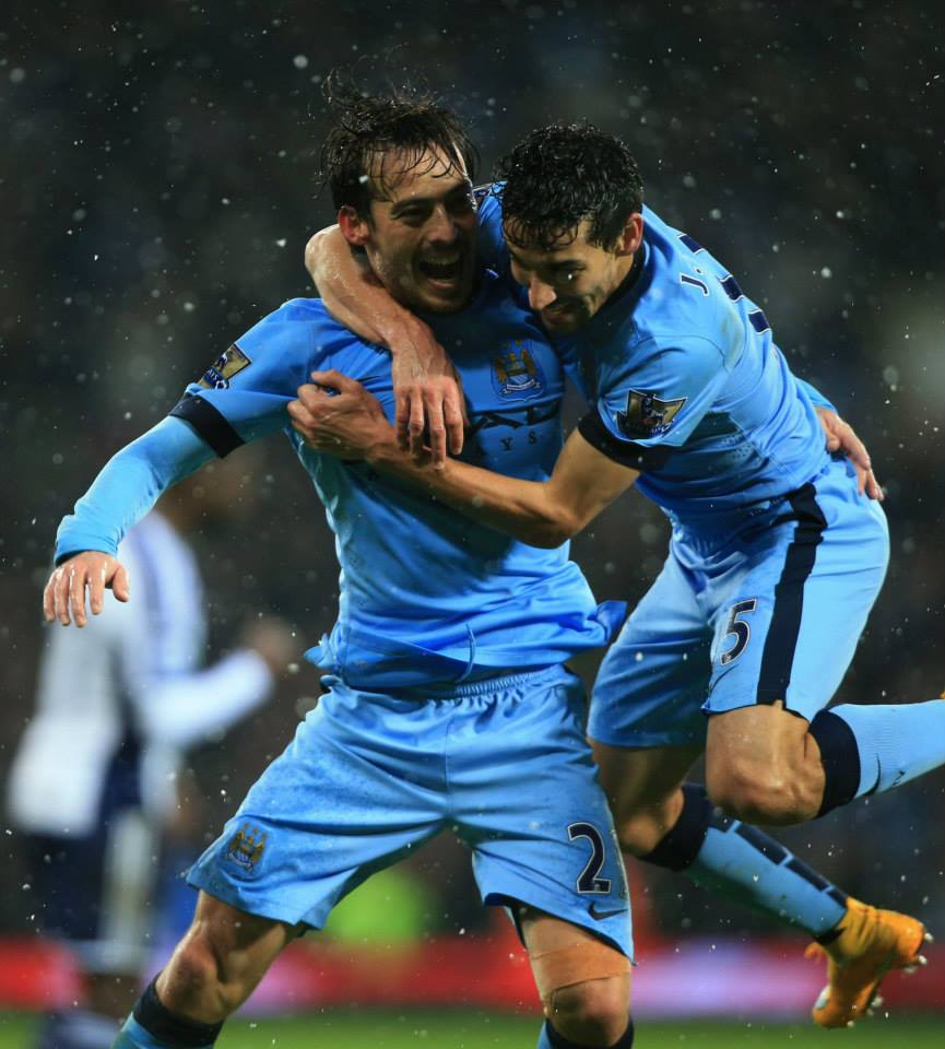 Simply THE best - David Silva, City's finest, celebrates his third goal in two games with Jesus. Courtesy@MCFC