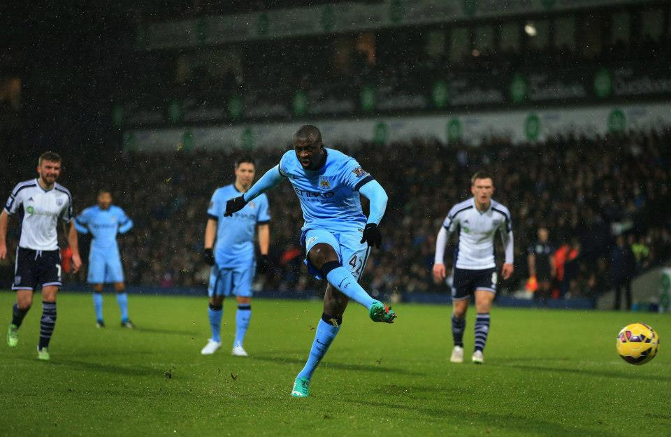 On the spot - Yaya has never missed a penalty for City. Courtesy@MCFC