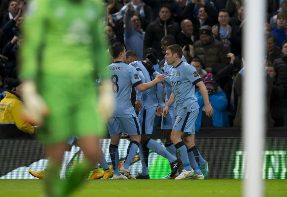 Celebration - Yaya is congratulated after his spot-kick conversion. Courtesy@MCFC